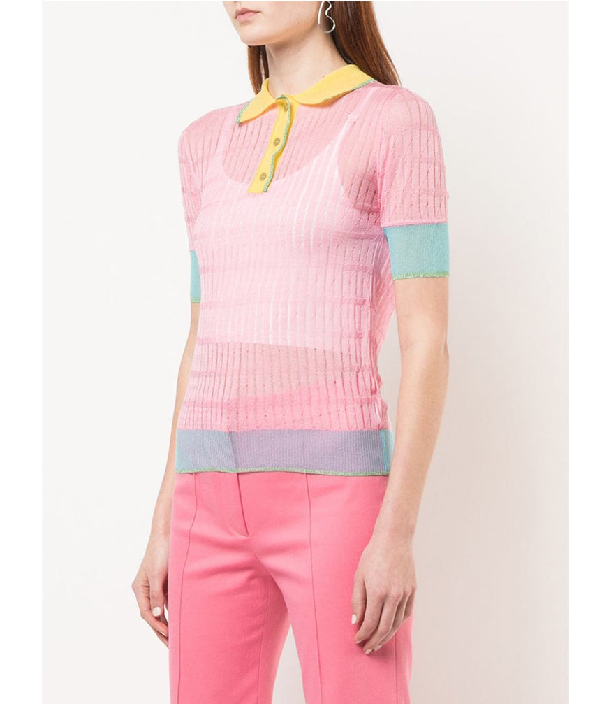 Pink Silk Polo Top