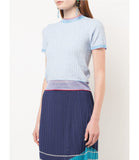 I Am Chen Blue Silk Round Neck Top