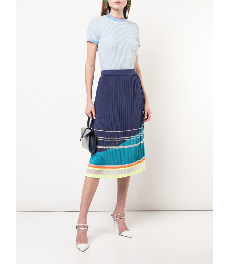 Blue Silk Knit Pleated Skirt