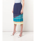 I Am Chen Blue Silk Knit Pleated Skirt