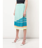 Light Blue Silk Knit Pleated Skirt
