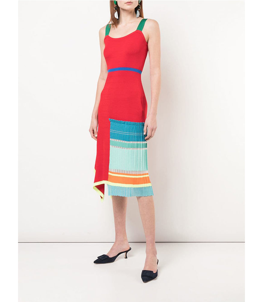 I Am Chen Red Silk Knit Pleated Dress