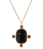Indigo Unveiled 14k Obsidian Scarab Necklace