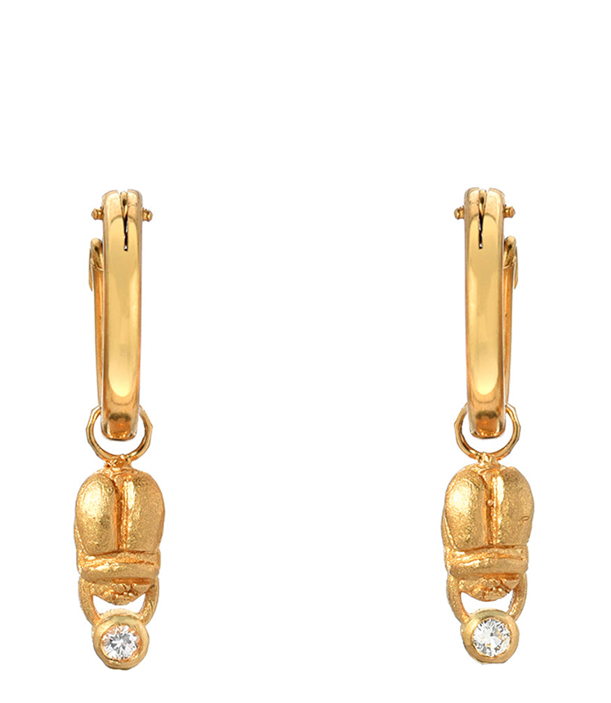 Indigo Unveiled 14k Scarab Diamond Hoops Earrings