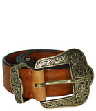 Post & Co Saddle Vintage Leather With Gold Buckle Belt