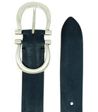Post & Co Navy Leather Vintage Belt
