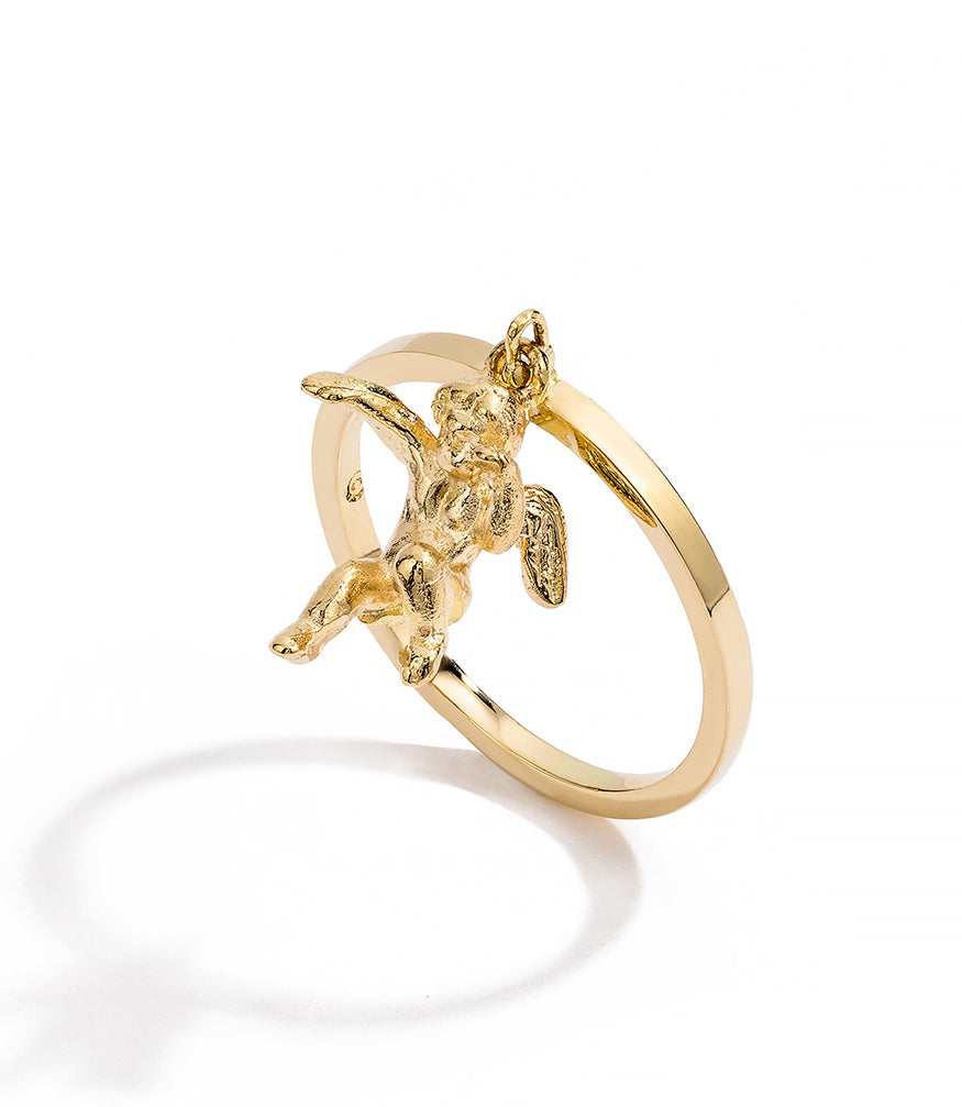 RENATO CIPULLO AMORE GIOTTO RING GOLD CHERUB CHARM STACKING RING
