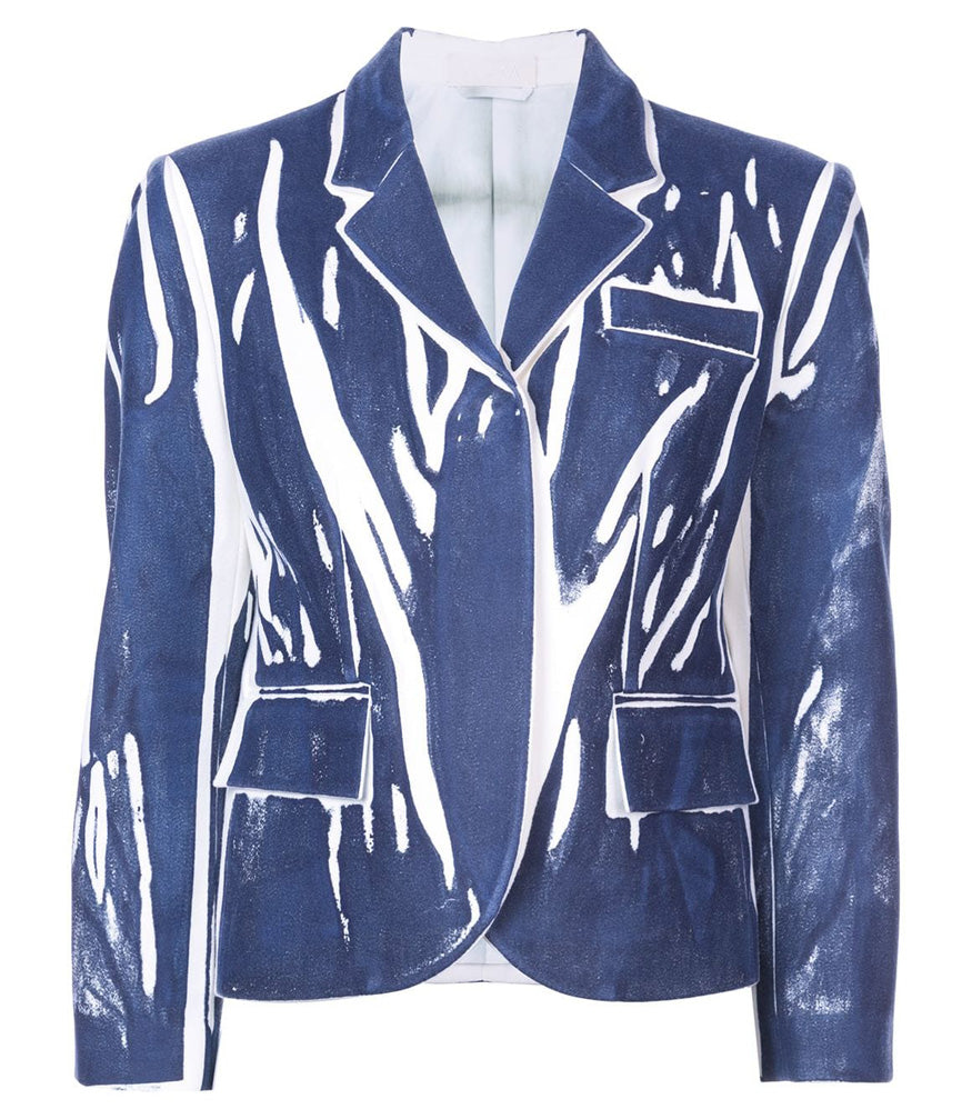 blue hand printed wool blazer