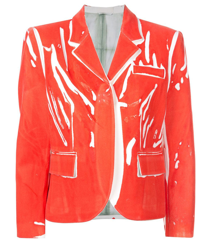 Red Hand Printed wool Blazer