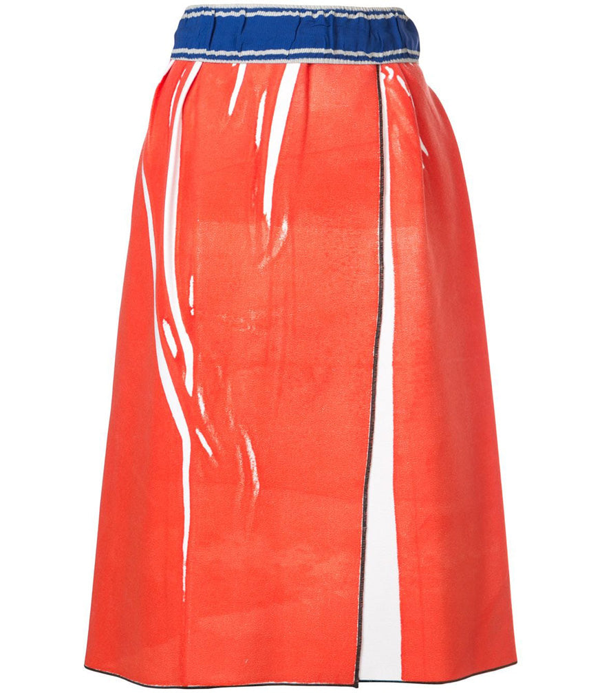 red wrap straight skirt