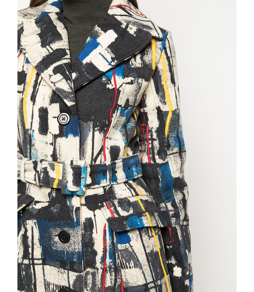 Samantha Sung Antonina Newman Abstract Multi Color Coat