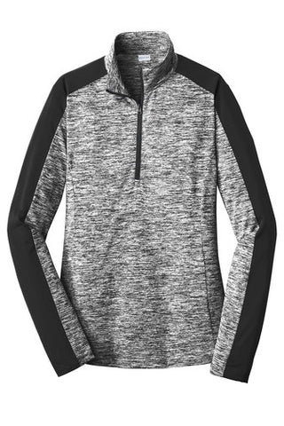1/4 Zip Long Sleeve Pull-Over - Women's Grey-Black Electric