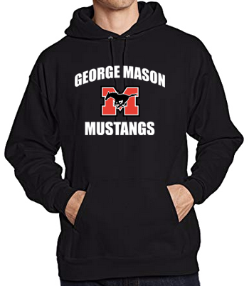 "Hoodie - Black with white lettering (""George Mason Mustangs"")"