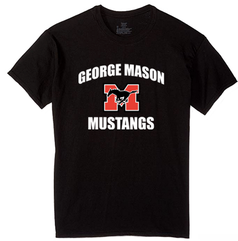 "Short Sleeve Black T-Shirt with white lettering (""George Mason Mustangs"")"