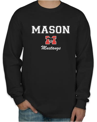 Long Sleeve T-Shirt - Black with White Lettering