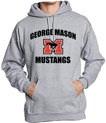 "Hoodie - Grey with black lettering (""George Mason Mustangs"")"