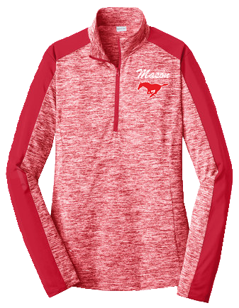 1/4 Zip Long Sleeve Pull-Over - Women's Red Electric