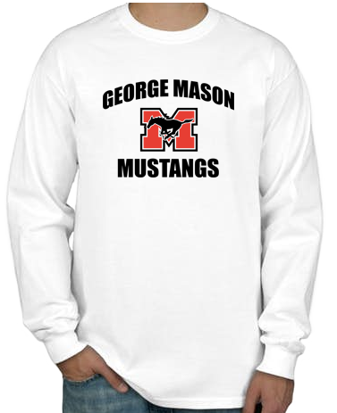 "Long Sleeve T-Shirt - White with black lettering (""George Mason Mustangs"")"