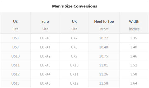 DEALCRY MEN SHOE SIZE CHART