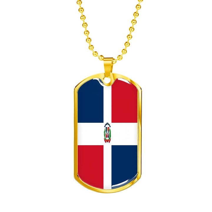 Dominican Republic Dog Tag Gold/silver With Custom Engraving - Military Chain (Gold) / No - Jewelry