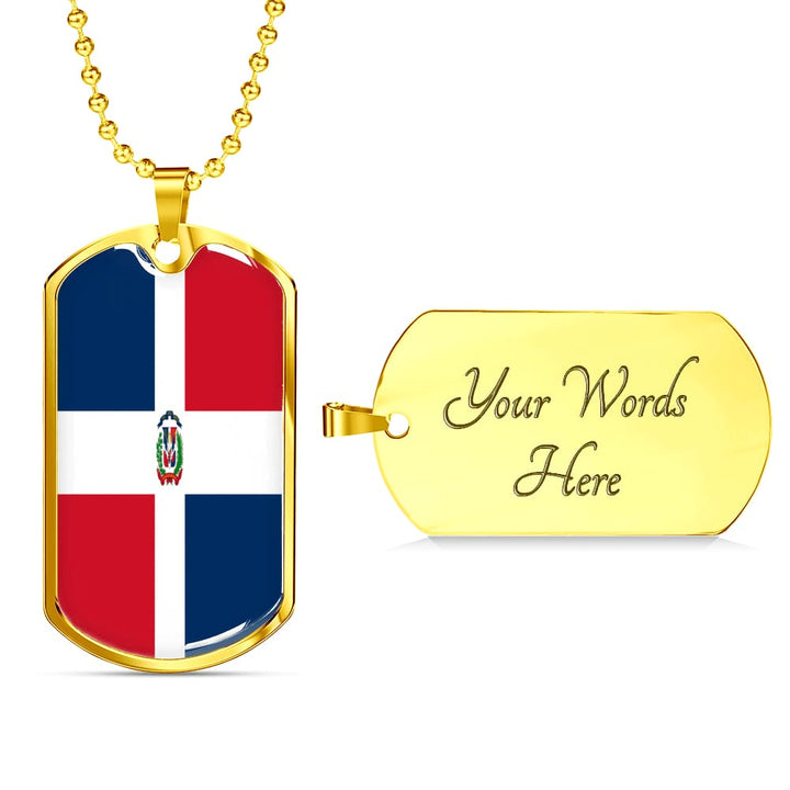 Dominican Republic Dog Tag Gold/silver With Custom Engraving - Military Chain (Gold) / Yes - Jewelry