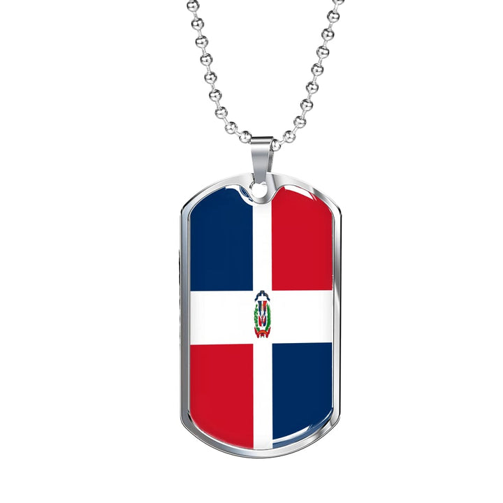 Dominican Republic Dog Tag Gold/silver With Custom Engraving - Military Chain (Silver) / No - Jewelry