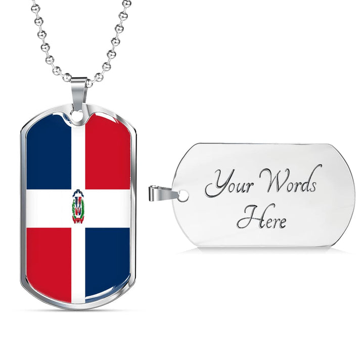 Dominican Republic Dog Tag Gold/silver With Custom Engraving - Military Chain (Silver) / Yes - Jewelry
