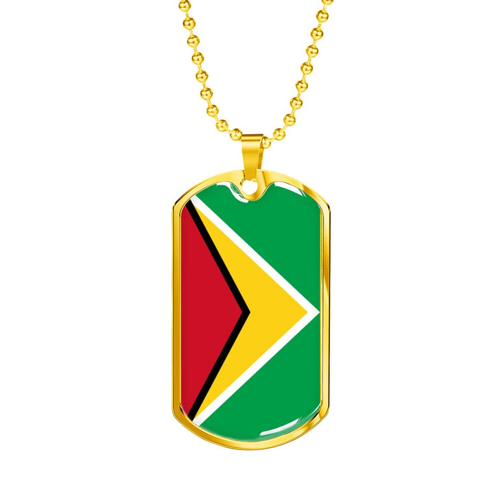 Guyana Dog Tag Gold/silver With Custom Engraving - Military Chain (Gold) / No - Jewelry