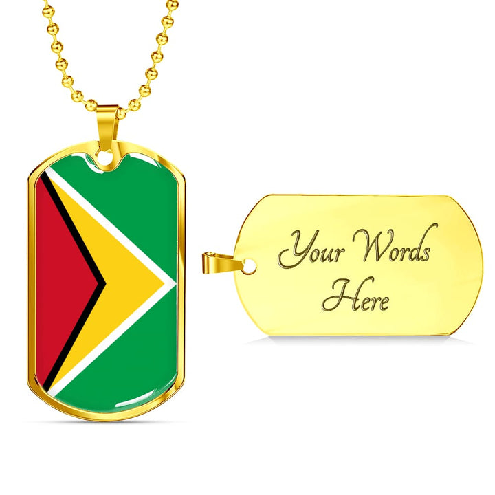 Guyana Dog Tag Gold/silver With Custom Engraving - Military Chain (Gold) / Yes - Jewelry