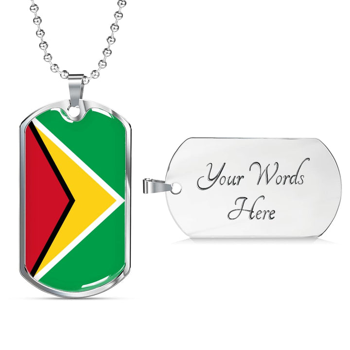 Guyana Dog Tag Gold/silver With Custom Engraving - Military Chain (Silver) / Yes - Jewelry