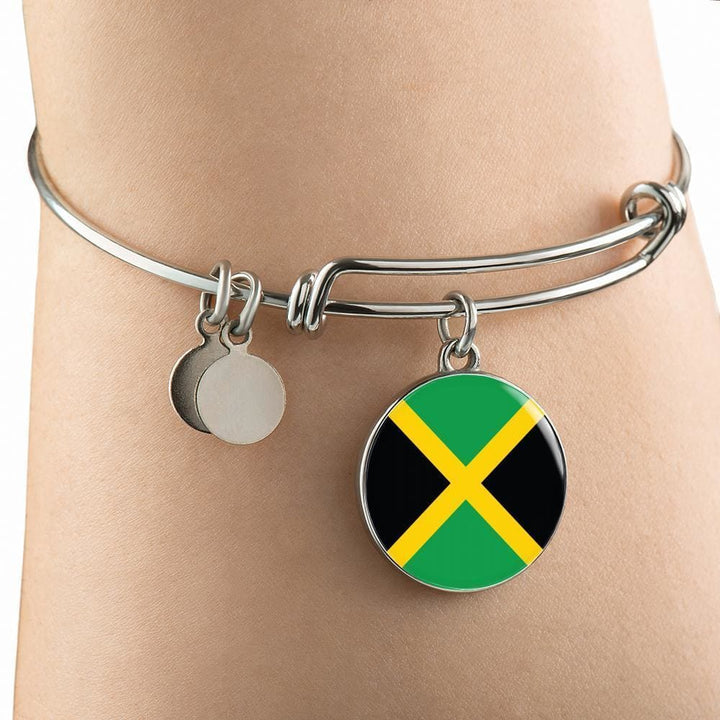 Jamaica Flag Pendant Necklace Or Bracelet Gold/silver With Custom Engraving - Jewelry