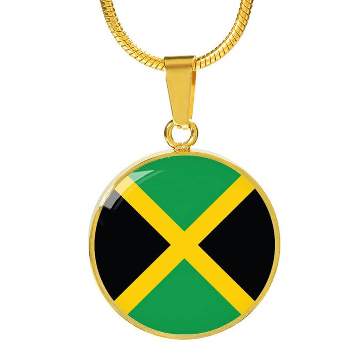 Jamaica Flag Pendant Necklace Or Bracelet Gold/silver With Custom Engraving - Luxury Necklace (Gold) / No - Jewelry