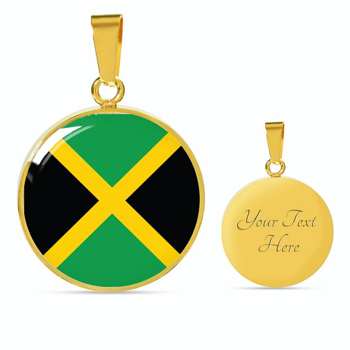 Jamaica Flag Pendant Necklace Or Bracelet Gold/silver With Custom Engraving - Luxury Necklace (Gold) / Yes - Jewelry