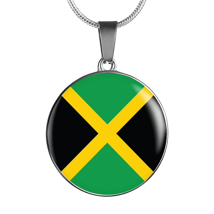 Jamaica Flag Pendant Necklace Or Bracelet Gold/silver With Custom Engraving - Luxury Necklace (Silver) / No - Jewelry