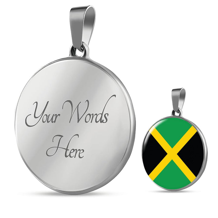 Jamaica Flag Pendant Necklace Or Bracelet Gold/silver With Custom Engraving - Luxury Necklace (Silver) / Yes - Jewelry