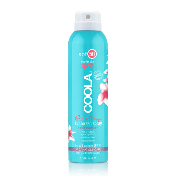 COOLA ECO-LUX 8OZ SPORT SPF 50 GUAVA MANGO SUNSCREEN SPRAY