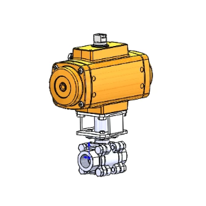 RP-15539: 300 Series Stainless Steel 2-Way Full Port Ball Valve (3-piece body), 316SS, 3/4 inch NPT, 50%TFE/50%SS Seats and Seals, F Series rack and pinion actuator, spring return (fail closed), sized for use with 80psi supply air, (ELFSA40-4)
