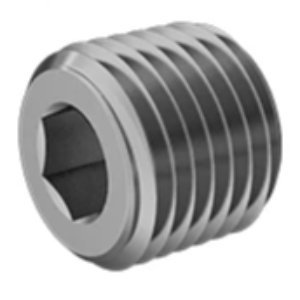 RP-6953: Fitting, Medium-Pressure Brass Threaded Pipe Fitting, 1/8 Pipe Size, Hex-Socket Solid Plug