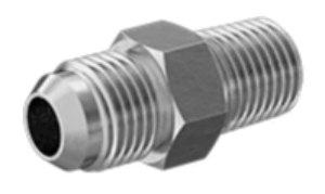 "RP-7565: Fitting, Brass 37 Degree Flared Tube Fitting, Straight Adapter for 3/8"" Tube OD x 1/4 NPT Male"