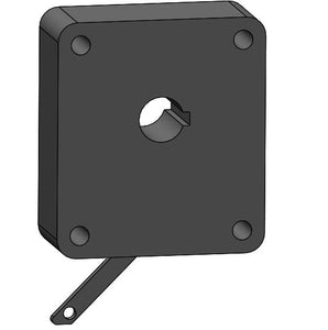 RP-11760: Trunion pinion gear ratcheting mechanism, Body 72, black powder coat , .625 round keyed hole