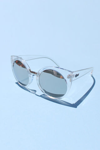 QUAY China Doll Sunglasses - Clear with Mirror Lens - Girl Party - 1