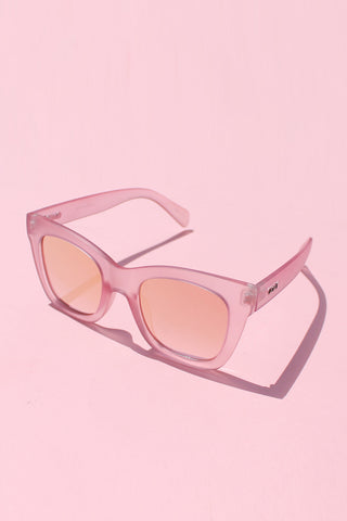 QUAY After Hours Sunglasses-  Pink with Pink Mirror Lens