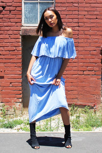 Blue Skies Ruffle Dress