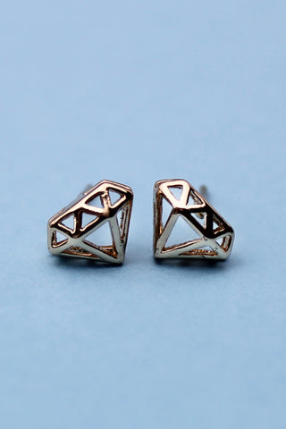 "Gold ""Diamond"" Stud Earrings - Girl Party"