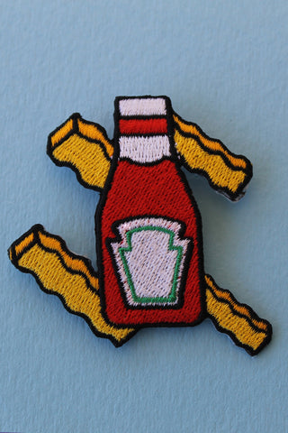 Ketchup & Fries Patch with Safety Pin Backing