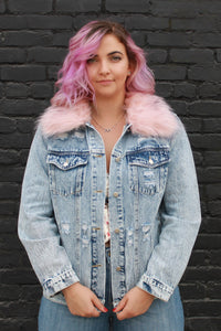 Anything But Basic Denim Jacket with Removable Fur
