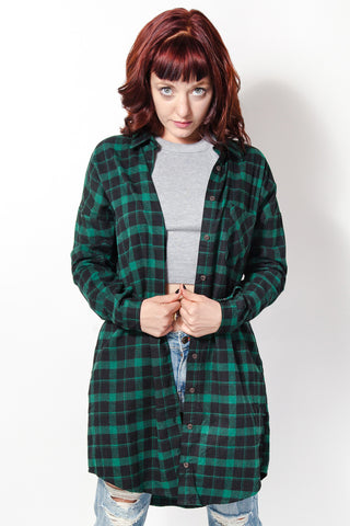 Green with Envy Flannel - Girl Party - 1