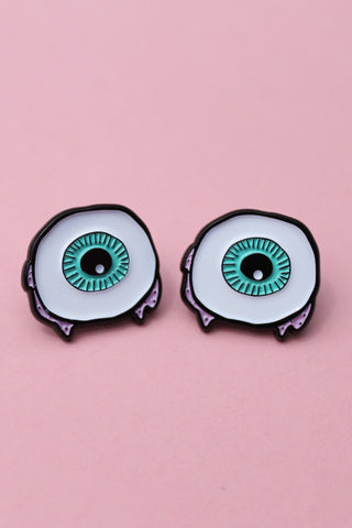 Summer Por Vida Eye Ball Lapel Pin Set - Green & Pink - Girl Party - 1