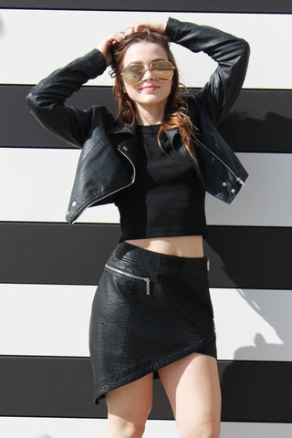 Juniper Vegan Leather Skirt - Girl Party - 1