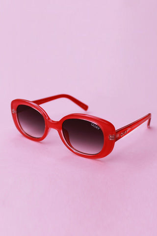 QUAY Lulu Sunglasses-  Red with Smoke Fade Lens